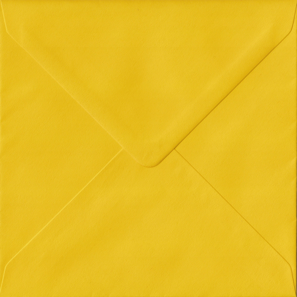 100 Square Yellow Envelopes. Sunflower Yellow. 155mm x 155mm. 100gsm paper. Extra Value MultiPack.
