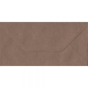 Brown Ribbed DL 110mm x 220mm Gummed Colour Business Envelopes