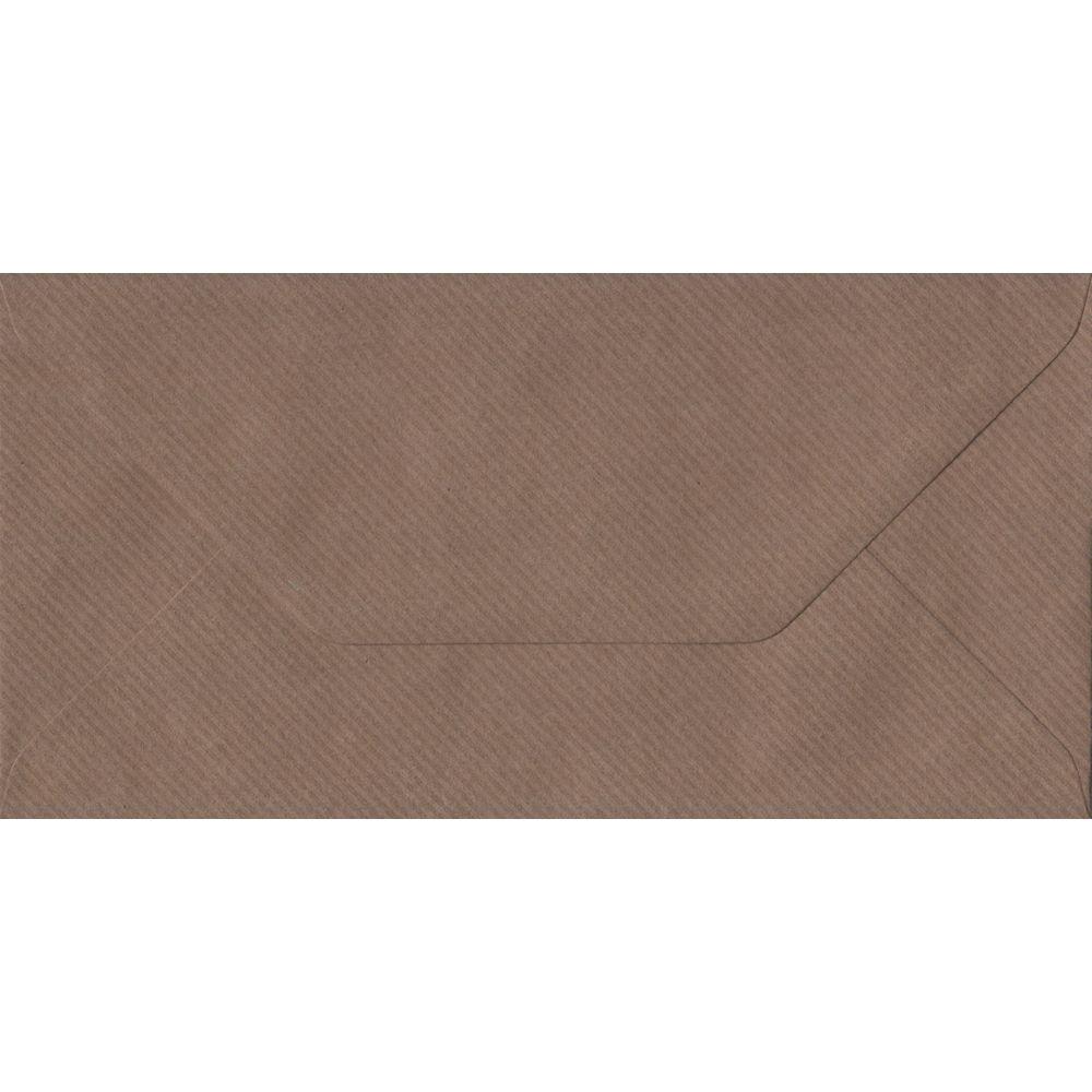 Brown Ribbed DL 110mm x 220mm Gummed Colour Business Envelopes