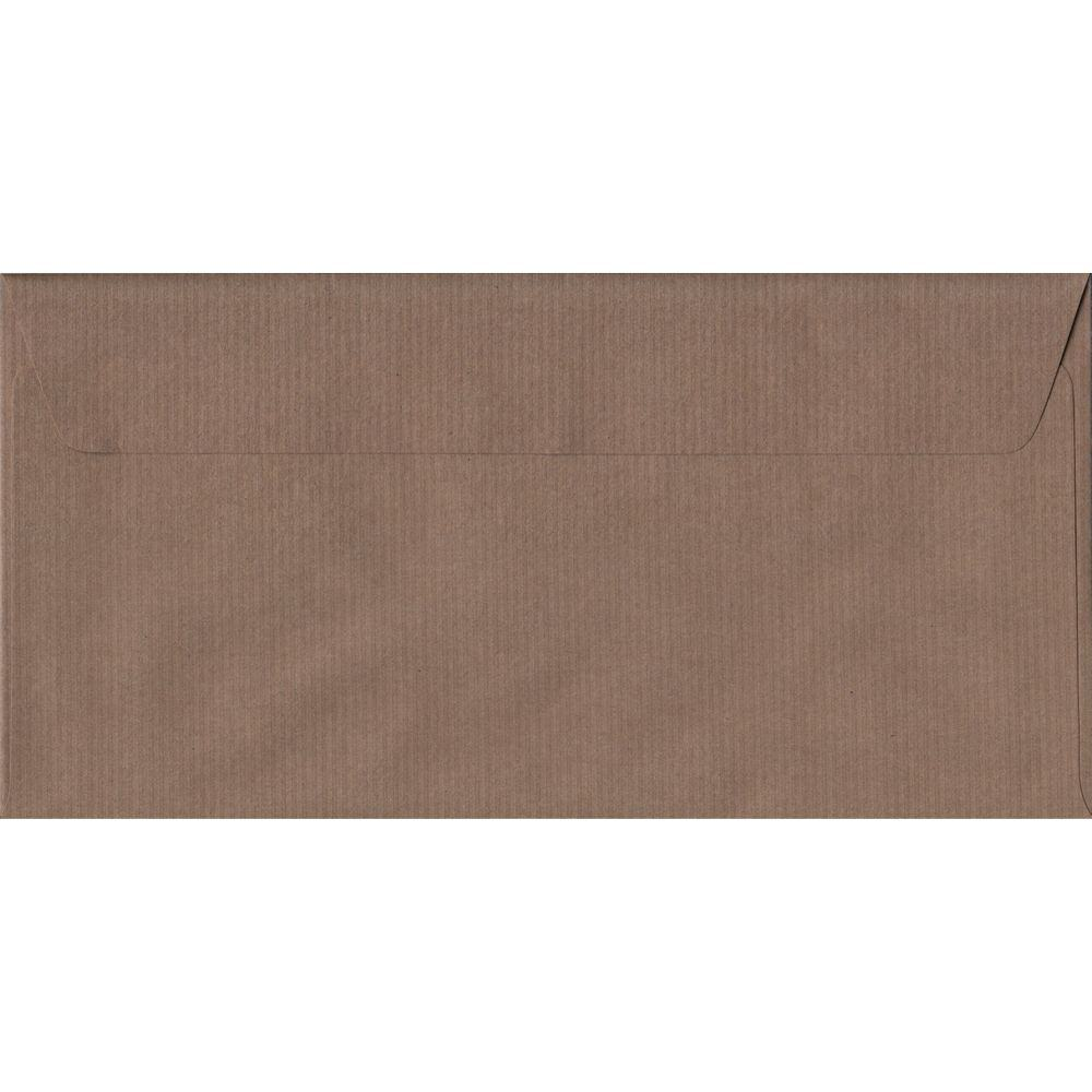 Brown Ribbed DL 110mm x 220mm Peel/Seal Colour Business Envelopes