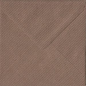 Brown Ribbed S4 155mm x 155mm Gummed Square Colour Envelopes