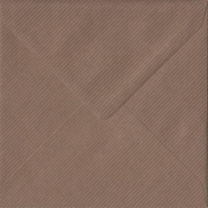 Brown Ribbed S4 155mm x 155mm Gummed Square Colour Envelopes