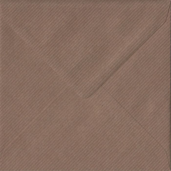100 Square Brown Envelopes. Brown Ribbed. 155mm x 155mm. 100gsm paper. Extra Value MultiPack.