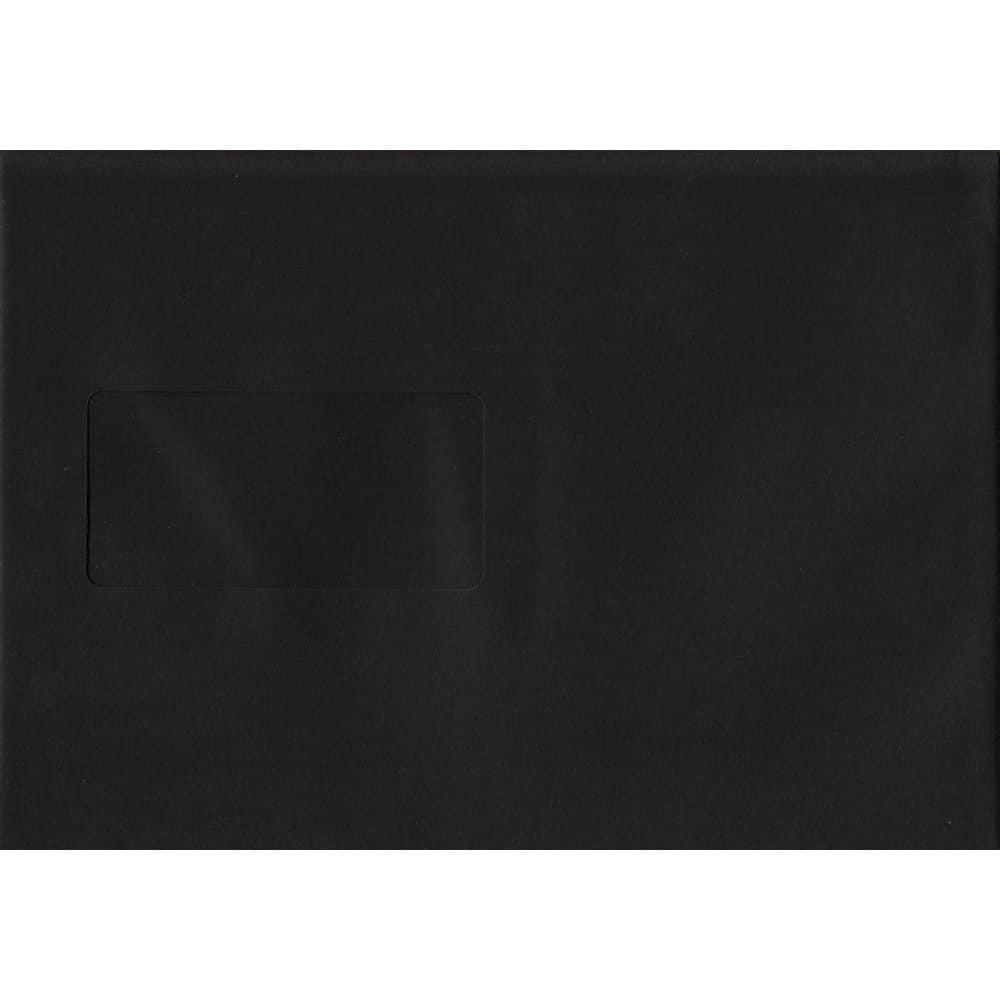 Black Windowed 162mm x 229mm 120gsm Peel/Seal C5/A5/Half A4 Envelope