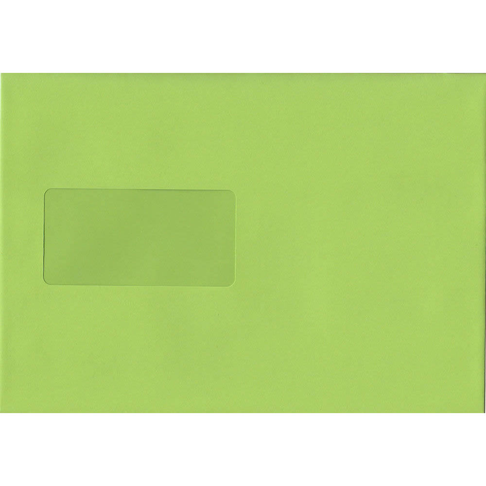 Lime Green Windowed 162mm x 229mm 120gsm Peel/Seal C5/A5 Sized Envelope