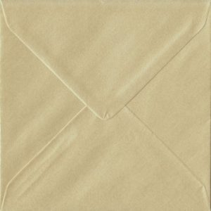 100 Square Champagne Envelopes. Pearl Champagne. 155mm x 155mm. 100gsm paper. Extra Value MultiPack.
