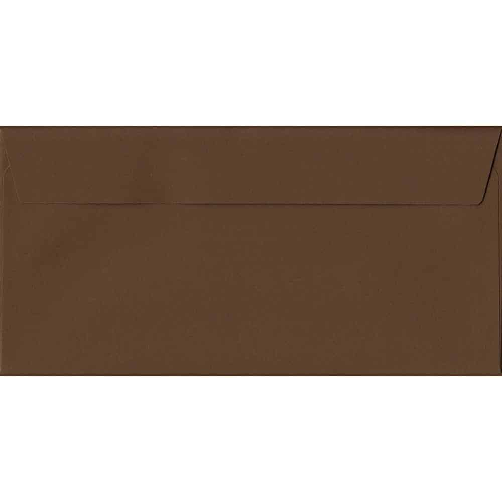 Chocolate Brown 114mm x 229mm 120gsm Peel/Seal DL/Tri-Fold A4 Sized Envelope (Box Of 500)