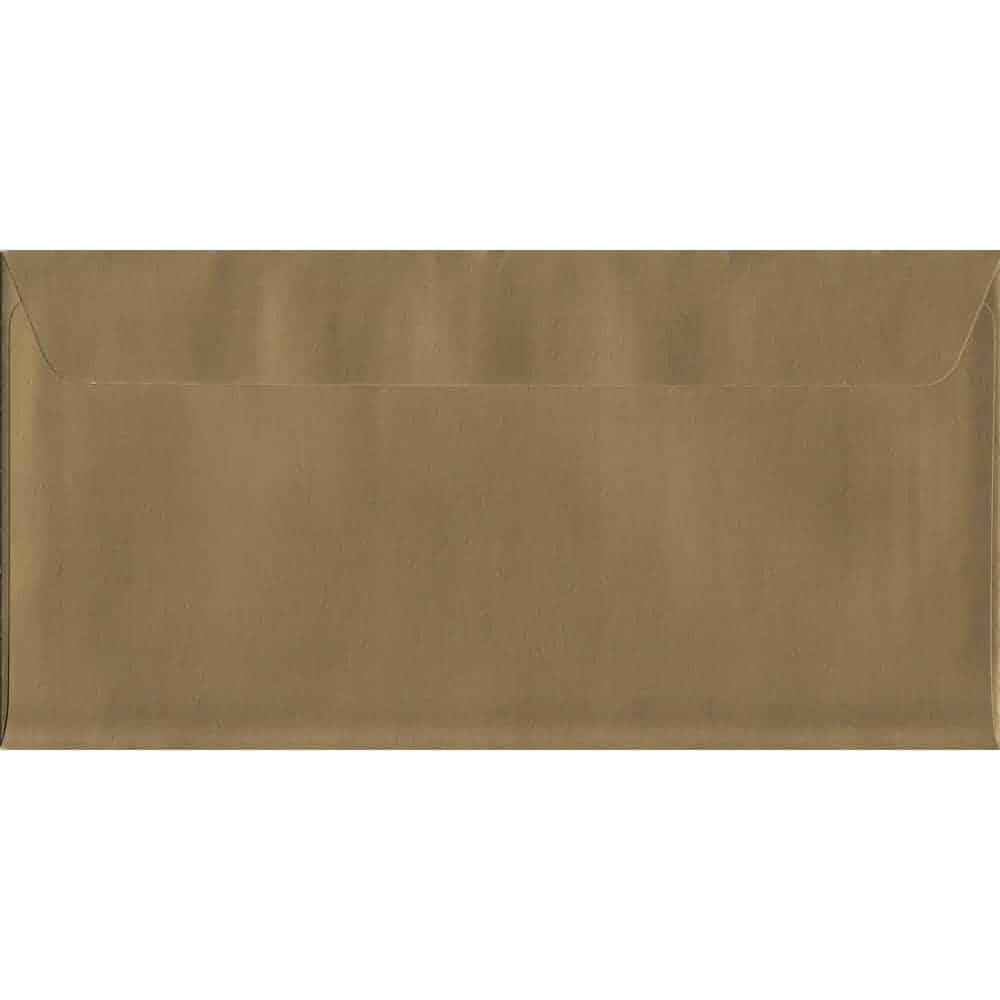 Metallic Shiny Gold DL 114mm x 229mm Peel/Seal DL Colour Envelope