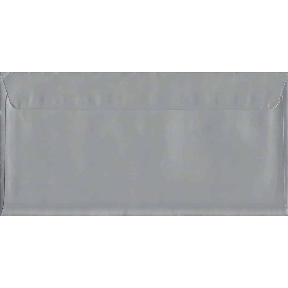 Metallic Shiny Silver DL 114mm x 229mm Peel/Seal DL Colour Envelope