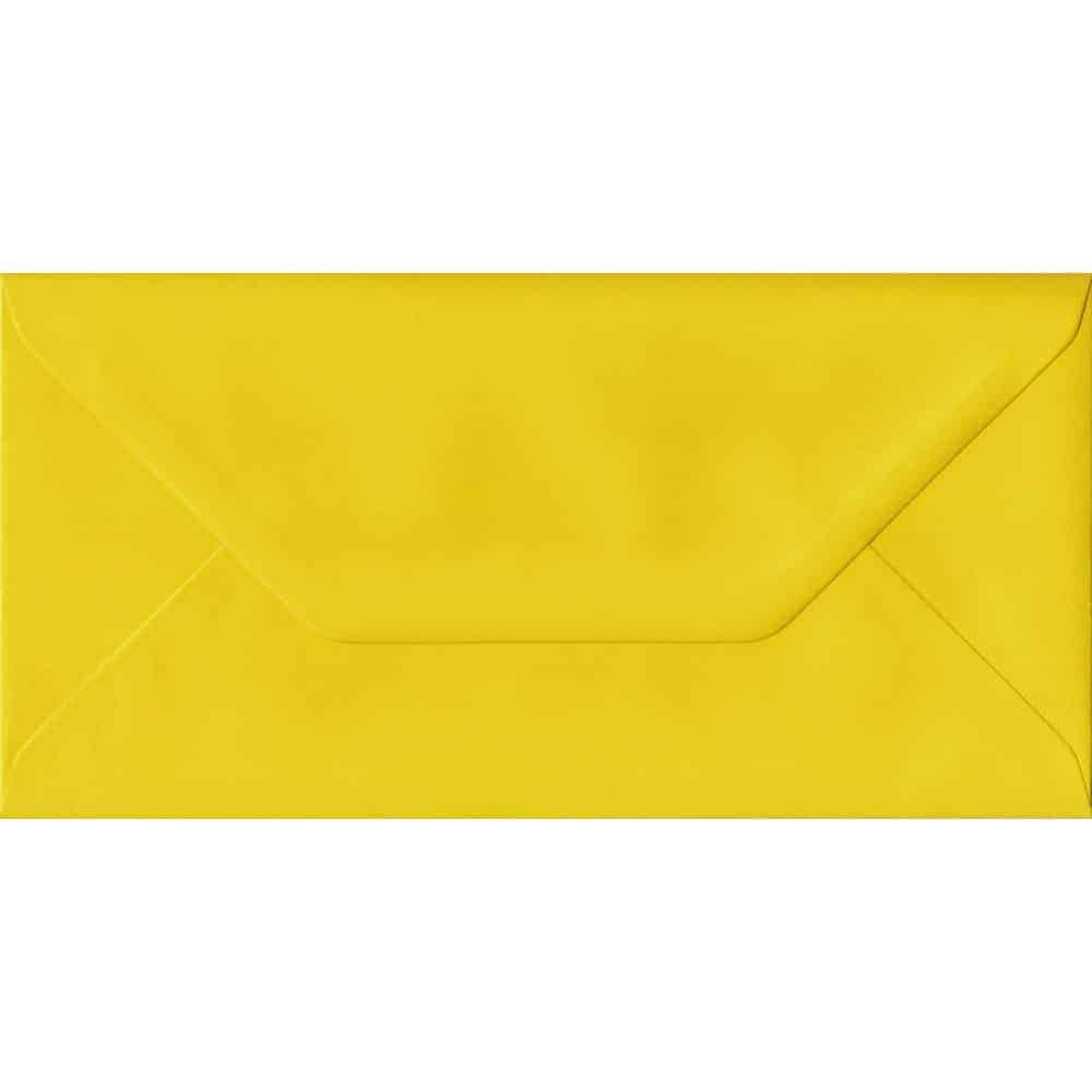 Daffodil Yellow DL 110mm x 220mm Gummed Colour Business Envelopes