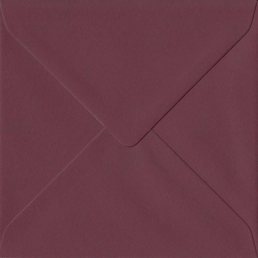 Dark Bordeaux Red 155mm x 155mm 120gsm Gummed Square Sized Envelope