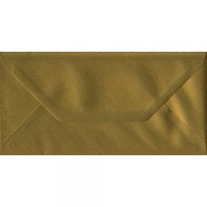 Metallic Gold DL 110mm x 220mm Gummed Colour Business Envelopes