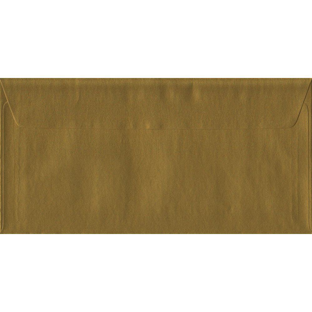 Metallic Gold DL 110mm x 220mm Peel/Seal Colour Business Envelopes