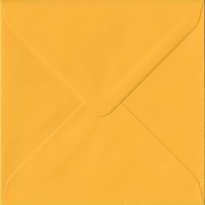 Golden Yellow S4 155mm x 155mm Gummed Square Colour Envelopes