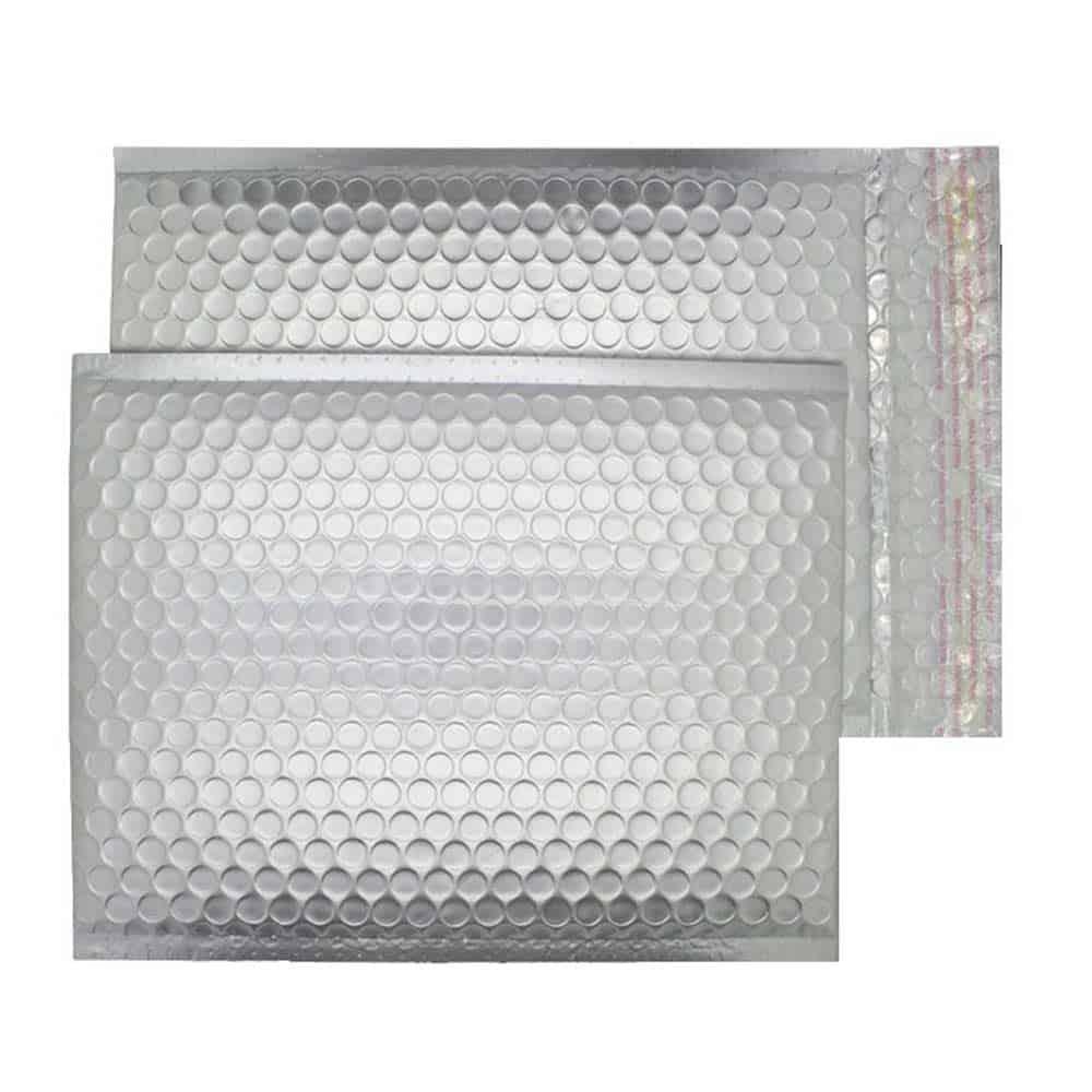 Brushed Chrome Matt 250mm x 180mm Bubble Envelopes (Box Of 100)