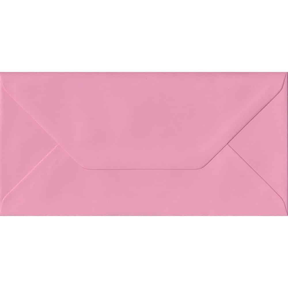 Pink DL 110mm x 220mm Gummed Colour Business Envelopes