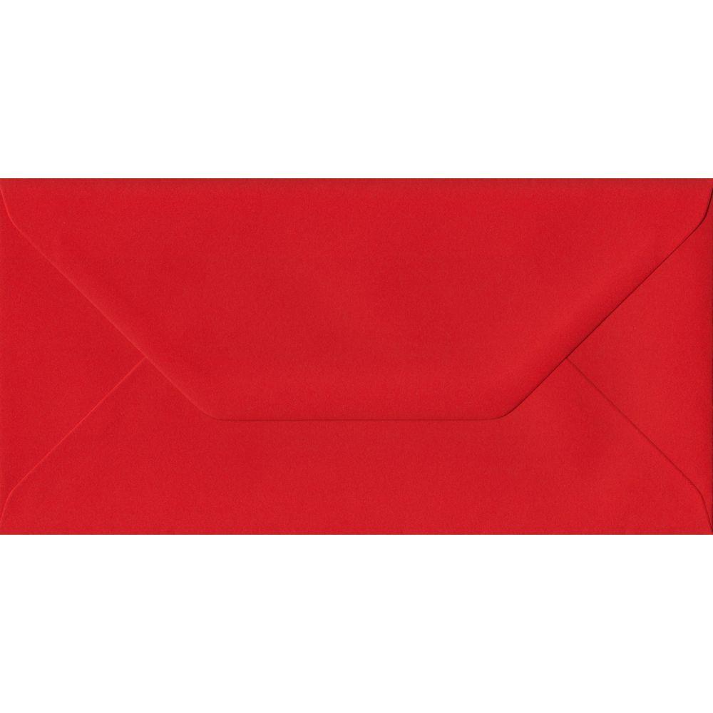 Poppy Red DL 110mm x 220mm Gummed Colour Business Envelopes