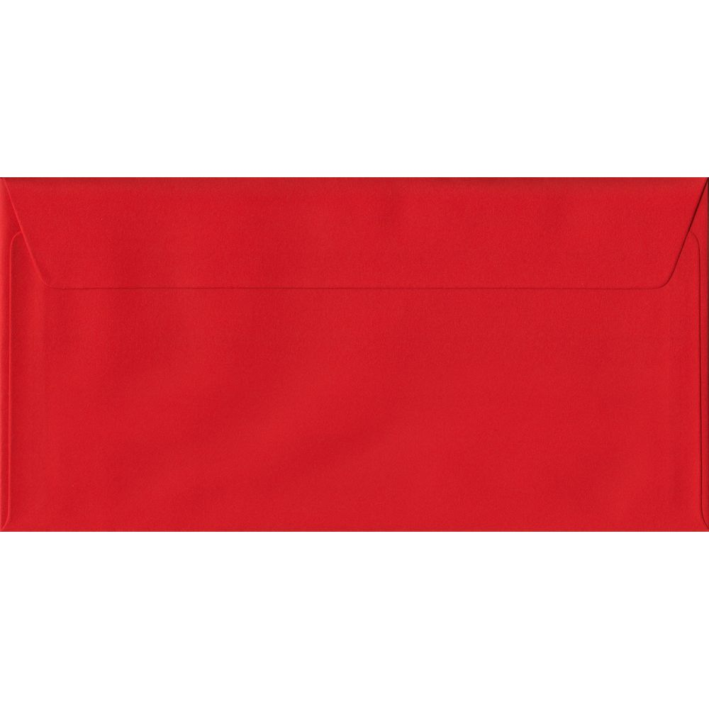 Poppy Red DL 110mm x 220mm Peel/Seal Colour Business Envelopes