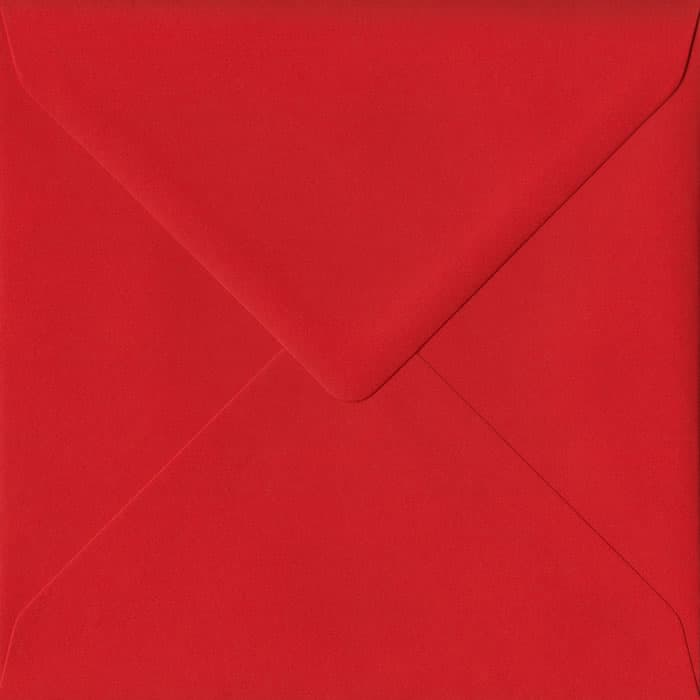 Poppy Red S4 155mm x 155mm Gummed Square Colour Envelopes
