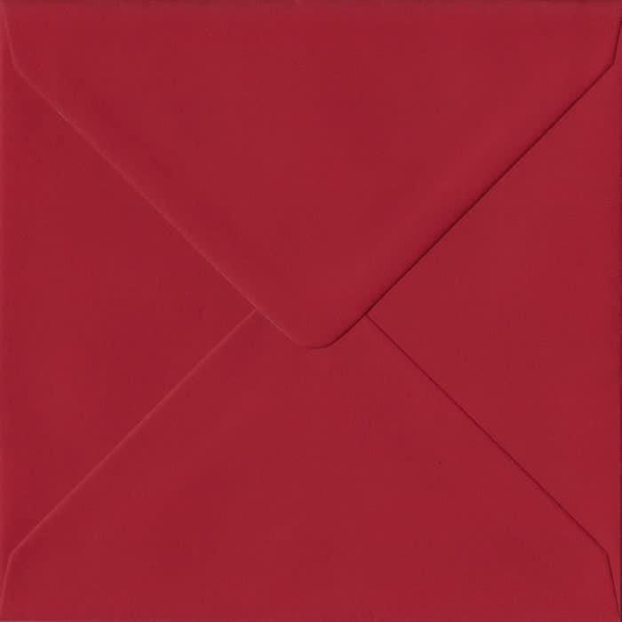 Scarlet Red S4 155mm x 155mm Gummed Square Colour Envelopes