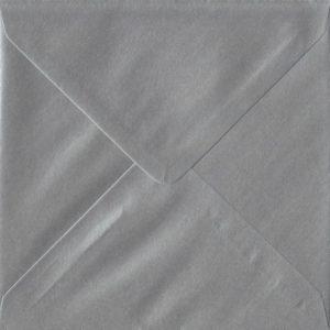 Metallic Silver S4 155mm x 155mm Gummed Square Colour Envelopes