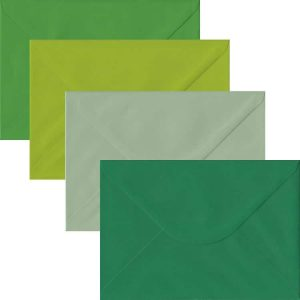 Green Pack Of 100 C5 Gummed Envelopes In Four Shades Of Green