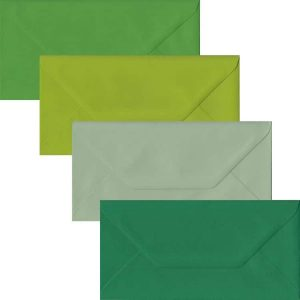 Green Pack Of 100 DL Gummed Envelopes In Four Shades Of Green
