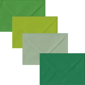 Green Pack Of 100 C6 Gummed Envelopes In Four Shades Of Green