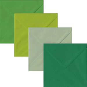 Green Pack Of 100 S4 Gummed Envelopes In Four Shades Of Green