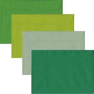 Green Pack Of 100 C5 Peel/Seal Envelopes In Four Shades Of Green