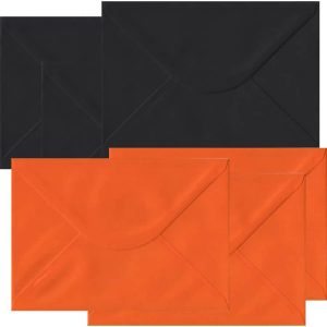 Halloween Pack Of 50 C5 Gummed Envelopes In Black And Orange