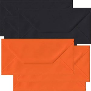 Halloween Pack Of 50 DL Gummed Envelopes In Black And Orange
