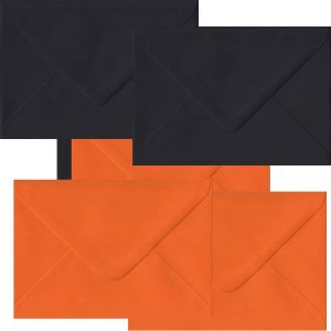 Halloween Pack Of 50 C6 Gummed Envelopes In Black And Orange