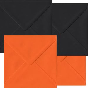 Halloween Pack Of 50 S4 Gummed Envelopes In Black And Orange