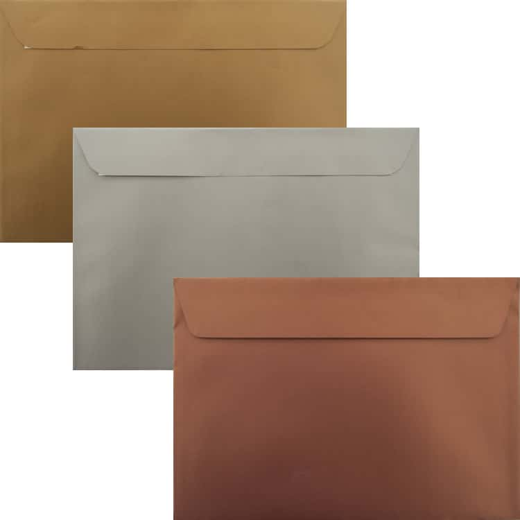 Premium Awards Pack Of 75 Gold, Silver And Bronze C5 Peel/Seal Luxury Envelopes