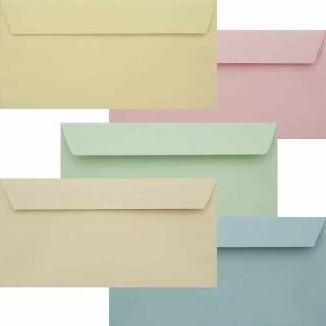 Premium Pastel Pack Of Peel And Seal DL 120gsm 110mm x 220mm Envelope