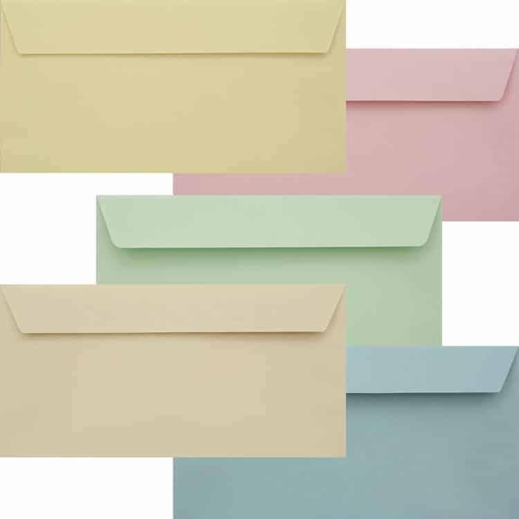 Premium Pastel Pack Of Peel And Seal DL 120gsm 110mm x 220mm Envelope