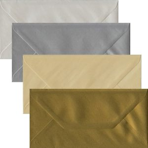 Metallic Pack Of 100 DL Gummed Envelopes In Four Metallic Colours