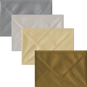 Metallic Pack Of 100 C6 Gummed Envelopes In Four Metallic Colours