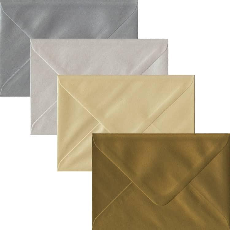 Metallic Pack Of 100 C6 Gummed Envelopes In Four Metallic Colours