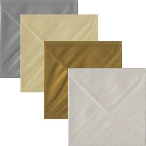 Metallic Pack Of 100 S4 Gummed Envelopes In Four Metallic Colours