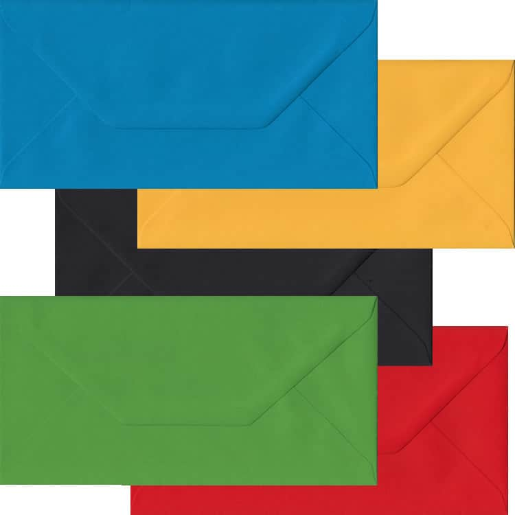 Olympic Pack Of 100 DL Gummed Envelopes In Five Olympic Colours
