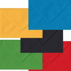 Olympic Pack Of 100 C6/A6 Gummed Envelopes In Five Olympic Colours