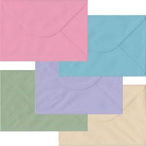 Pastel Pack Of 100 C5 Gummed Envelopes In Five Pastel Colours