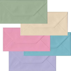 Pastel Pack Of 100 DL Gummed Envelopes In Five Pastel Colours