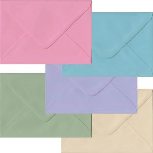 Pastel Pack Of 100 C6 Gummed Envelopes In Five Pastel Colours