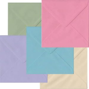 Pastel Pack Of 100 S4 Gummed Envelopes In Five Pastel Colours