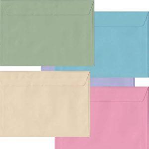 Pastel Pack Of 100 C5 Peel/Seal Envelopes In Five Pastel Colours