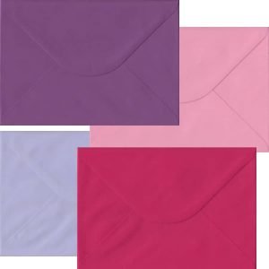 Pink And Purple Pack Of 100 C5 Gummed Envelopes In Four Pink/Purple Colours