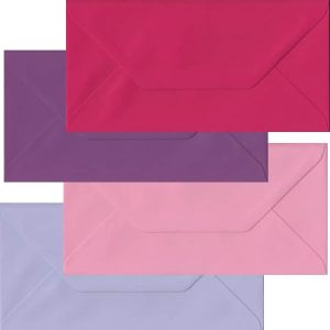 Pink And Purple Pack Of 100 DL Gummed Envelopes In Four Pink/Purple Colours